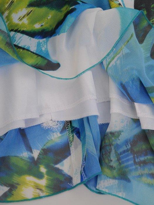Luźna sukienka w atrakcyjny, roślinny wzór 16810.