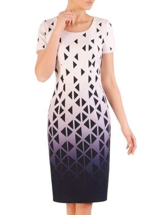 Sukienka z tkaniny, wiosenna kreacja w wyszczuplającym wzorze 29607