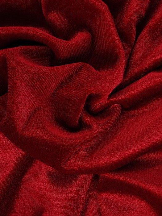 Aksamitna sukienka z tiulowym karczkiem, czerwona kreacja wieczorowa 18956