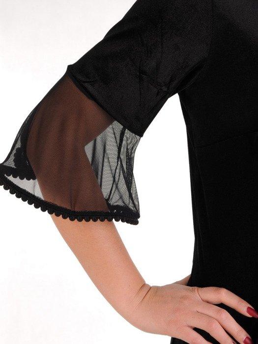 Aksamitna sukienka z tiulowymi wstawkami, luźna kreacja na wieczór 19172