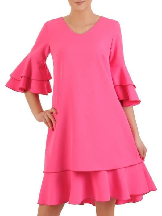 Amarantowa, rozkloszowana sukienka z falbanami 29155