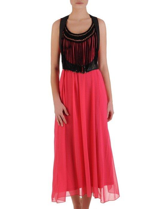 Amarantowa sukienka z ozdobną kamizelką Wanesa.