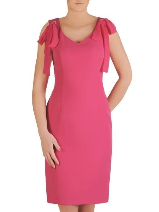 Amarantowa sukienka z ozdobnymi wiązaniami 29257