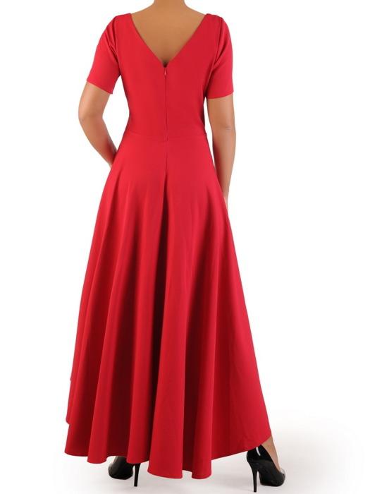 Asymetryczna sukienka z dekoltem wykończonym cyrkoniami 22772