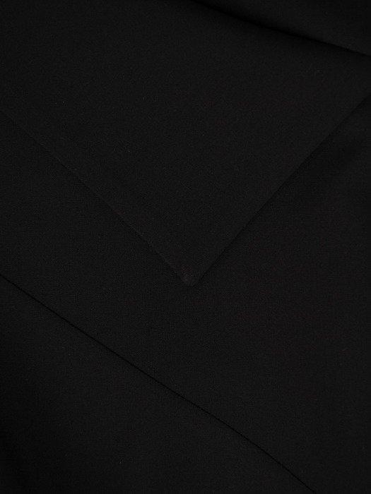 Asymetryczna sukienka z modną falbaną, czarna kreacja w stylu nowoczesnym 19140