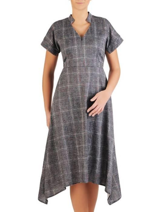 Asymetryczna, szara sukienka podkreślająca dekolt 28033