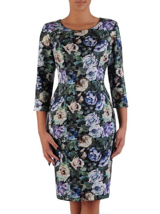 Atrakcyjna, wyszczuplająca sukienka w kwiaty 17348, modna kreacja na jesień.