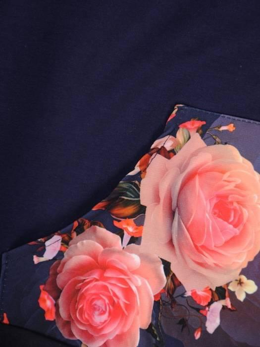 Bawełniany dres z kapturem, komplet z kwiatowymi wstawkami 29681