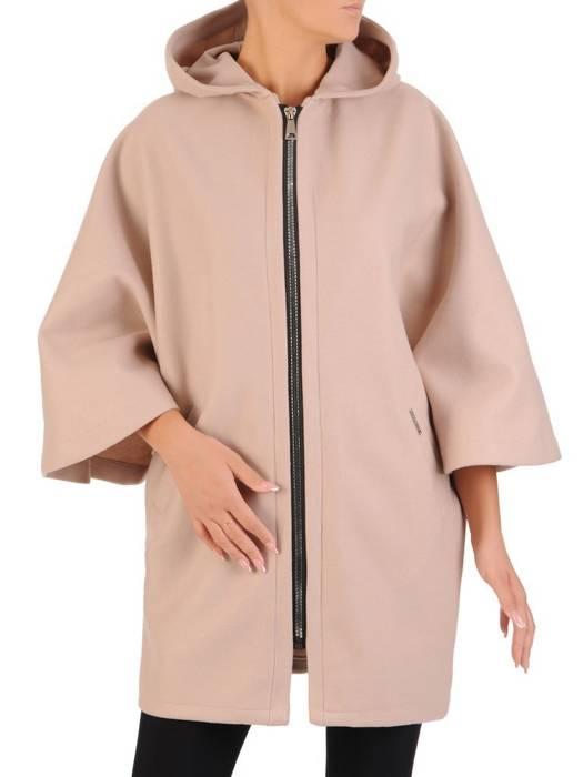 Beżowy płaszcz damski zapinany na zamek 27278