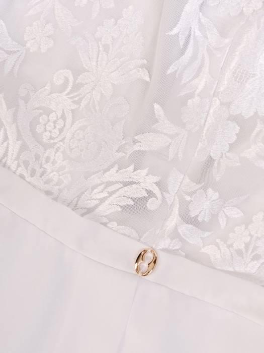 Biała sukienka koktajlowa, kreacja z szyfonu i koronki 29947