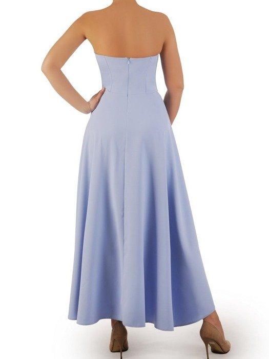 Błękitna sukienka gorsetowa, kreacja z dłuższym tyłem 24915