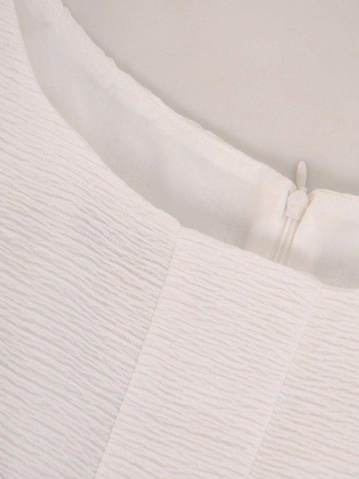 Błękitno biała sukienka z ozdobnym marszczeniem na biuście 25660