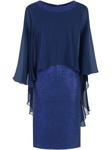 Błyszcząca sukienka Flawia X, kreacja z szyfonową narzutką.