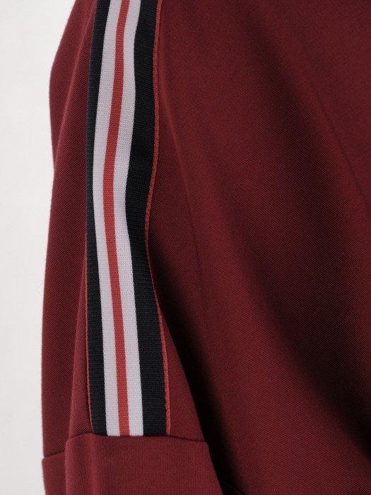 Bordowa bluzka z szerokimi, ozdobnymi rękawami 18865