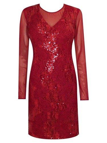 Bordowa sukienka wieczorowa Martyna II, kreacja ozdobiona cekinami.