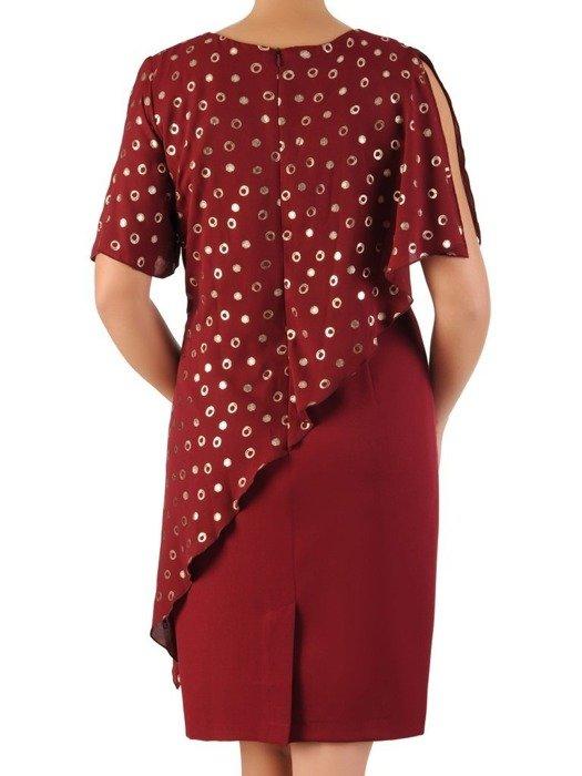 Bordowa sukienka z asymetryczną narzutką w groszki 23666