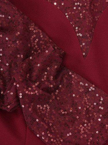 Bordowa sukienka z koronkowym karczkiem 14205