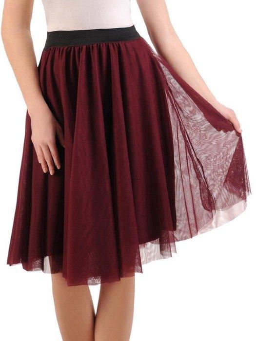 Bordowa tiulowa spódnica 24891