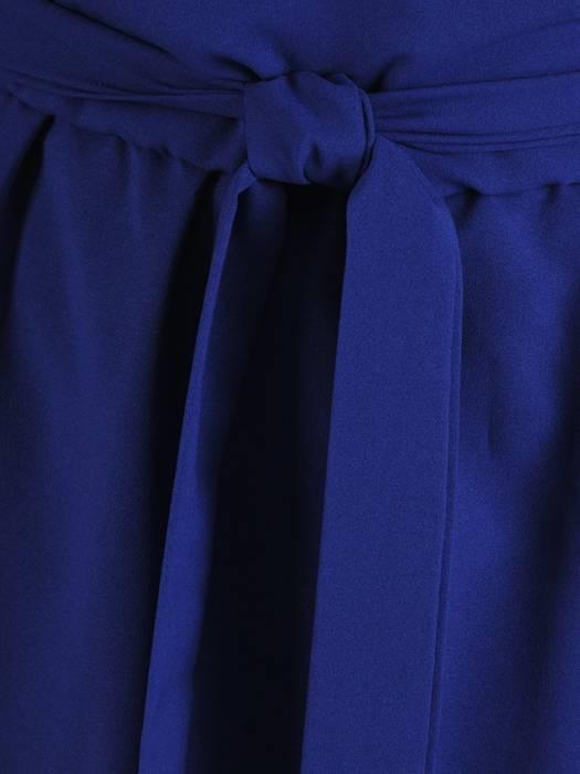 Chabrowa, długa sukienka z wiązaniem w pasie 26838