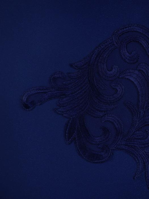 Chabrowa sukienka z koronkową aplikacją, elegancka kreacja wyszczuplająca 21239