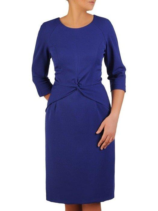Chabrowa sukienka z oryginalną baskinką Dolores, wizytowa kreacja wyszczuplająca.