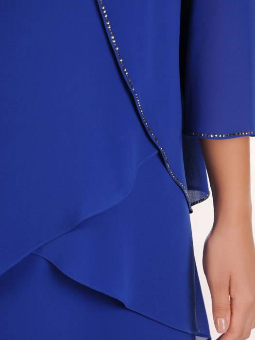 Chabrowa sukienka z warstwowego szyfonu zdobiona cyrkoniami 30597