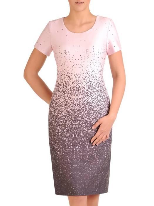 Cieniowana, prosta sukienka w kolorze pudrowym 29812