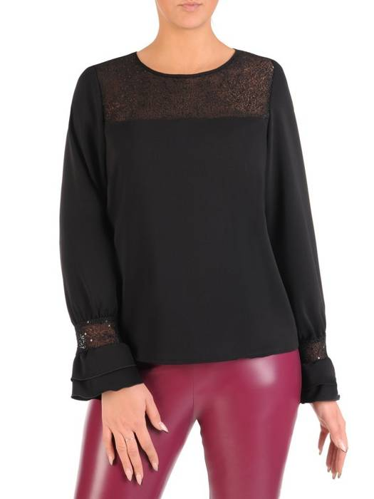 Czarna bluzka z koronkową aplikacją 27902
