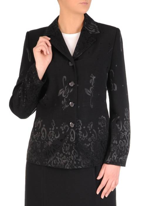 Czarna garsonka z eleganckim wyszywanym żakietem 28320