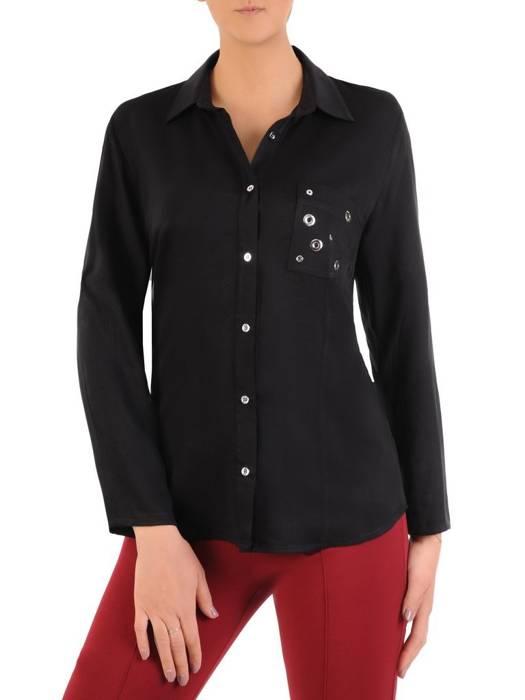 Czarna koszula z ozdobną kieszonką 29043
