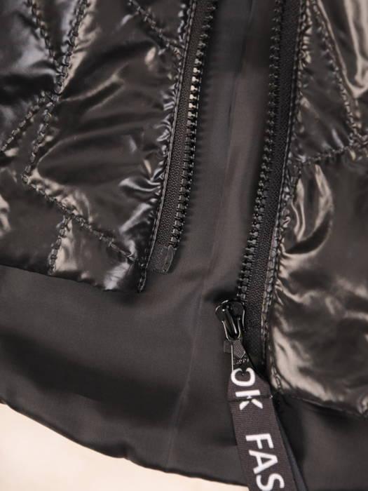 Czarna  kurtka damska z modnymi  napisami na kapturze 30641