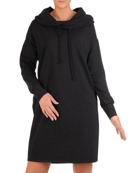 Czarna, modna sukienka w sportowym kroju 25951