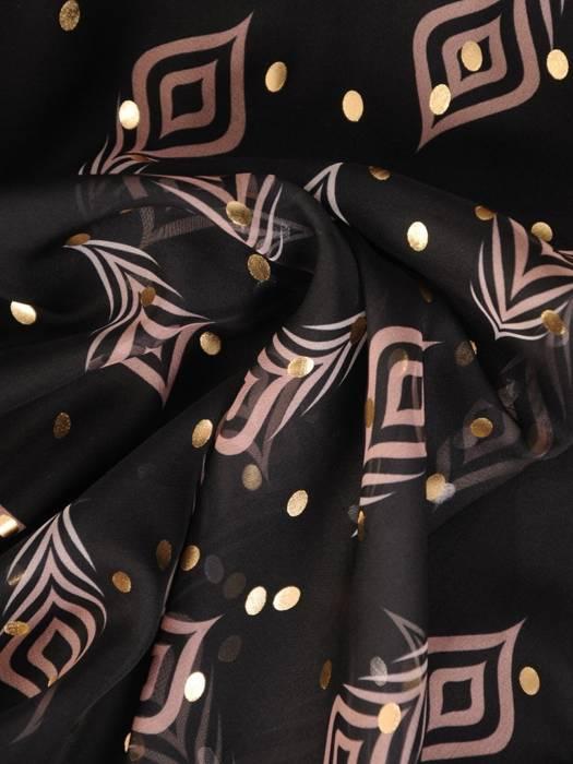 Czarna sukienka wyjściowa z ozdobnie wiązanymi rękawami 28745