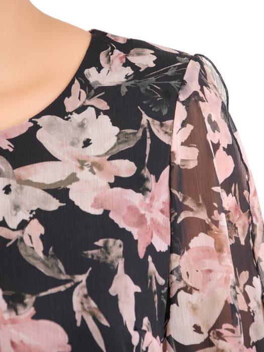 Czarna sukienka z asymetryczną narzutką w kwiaty 30720
