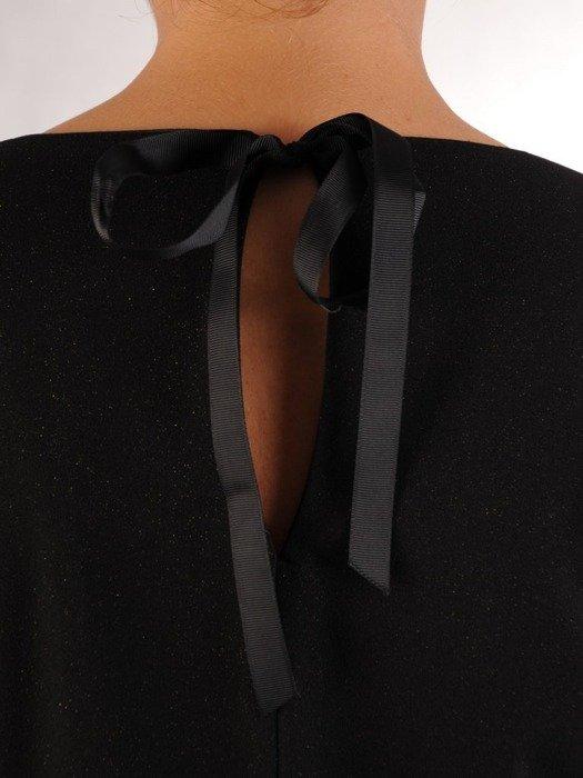 Czarna sukienka z falbanami i ozdobnym wiązaniem na karku 23455