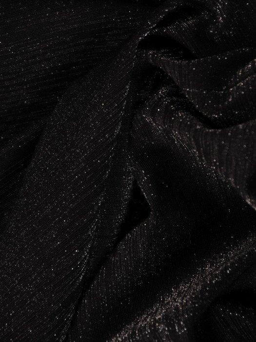 Czarna sukienka z kokardą na plecach, modna kreacja z połyskującej dzianiny 19214
