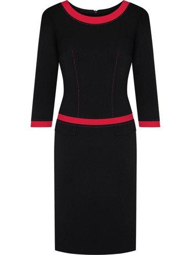 Czarna sukienka z lamówkami Ksawera IV, klasyczna kreacja na jesień.