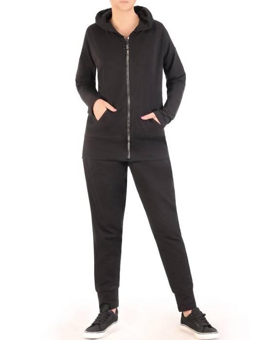 Czarny dres damski, wygodne spodnie z bluzą zapinaną na zamek 29634