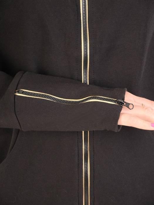 Czarny dres z bawełny, komplet z ozdobnymi zamkami 29694