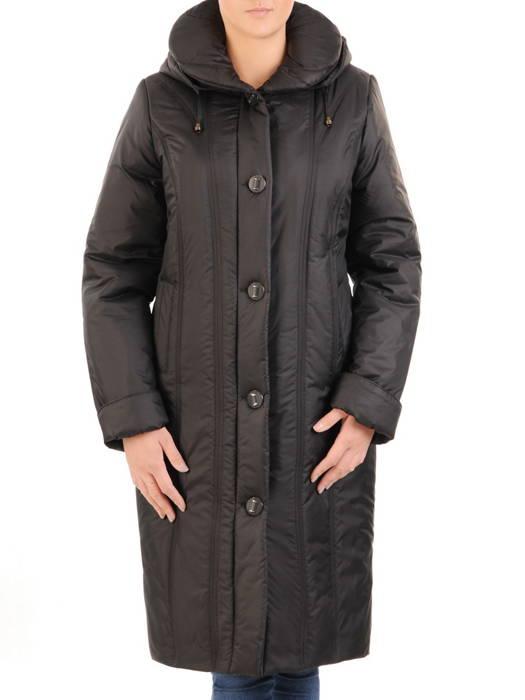 Czarny płaszcz damski z szerokim kołnierzem i odpinanym kapturem 30649