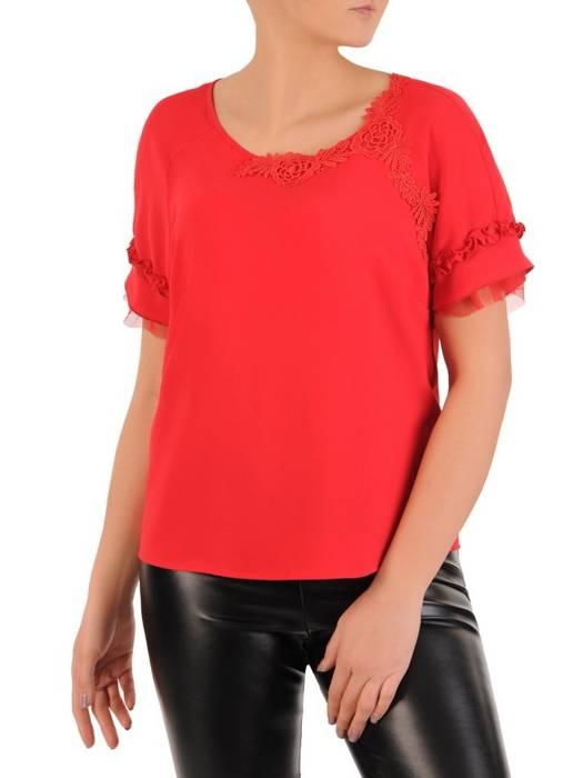 Czerwona bluzka z koronkowymi aplikacjami 29059