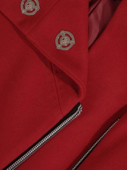 Czerwony płaszcz damski zapinany na ozdobny suwak 27781