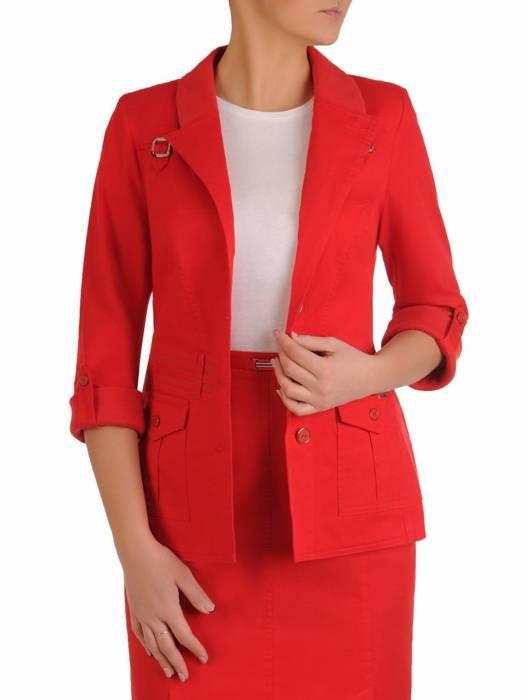 Czerwony żakiet damski z bawełny 28104