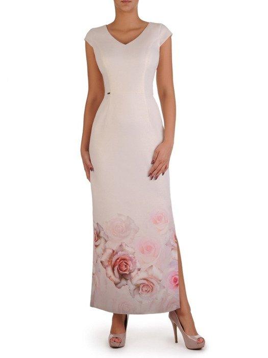 Długa, prosta suknia z eleganckim wzorem 17802.