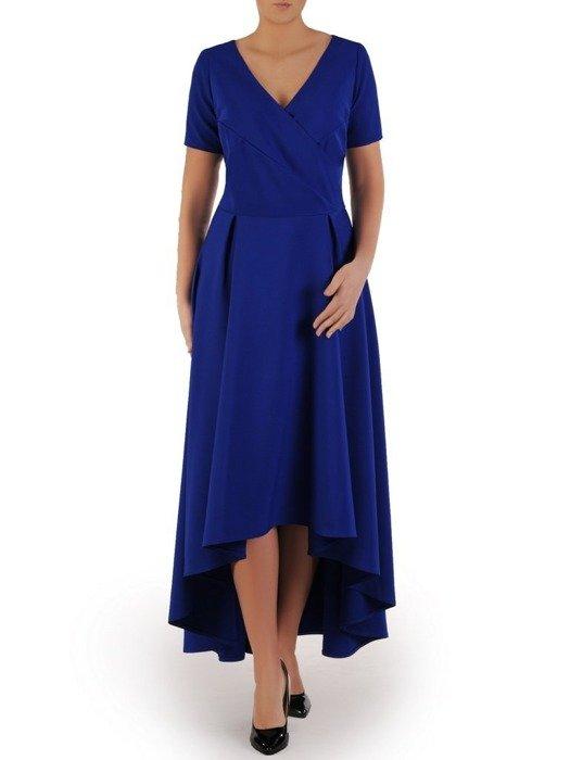 Długa sukienka kopertowa, kreacja z ozdobą na plecach 22750
