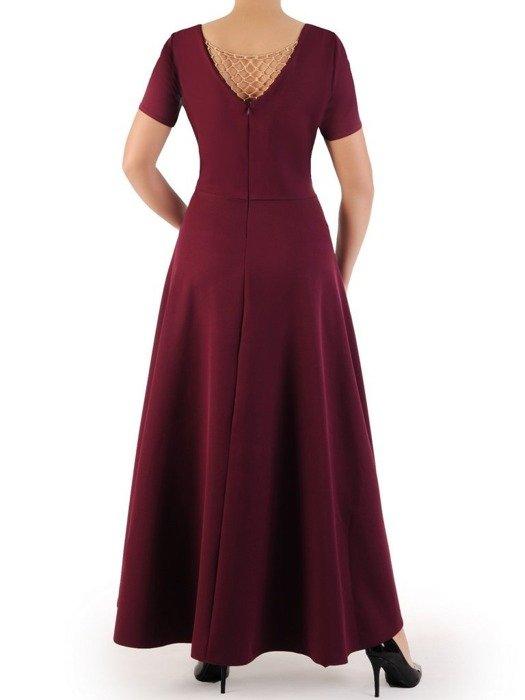 Długa sukienka kopertowa, kreacja z ozdobą na plecach 22753