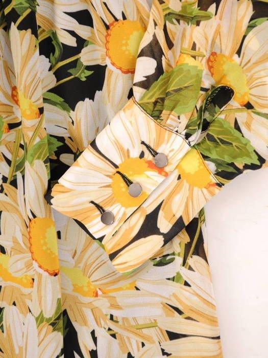 Długa sukienka z guzikami przy dekolcie, modna kreacja z szyfonu 30496