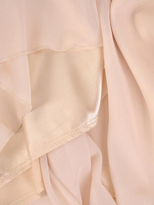Długa suknia na wesele, kremowa kreacja z koronkowym topem 21986