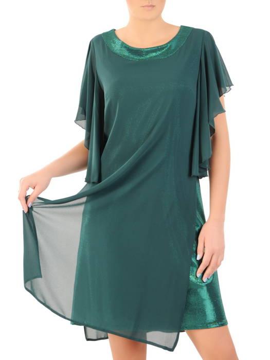 Dwuwarstwowa sukienka wieczorowa z luźnymi rękawami 31232