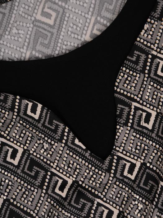 Dzianinowa bluzka z czarnymi wstawkami 22031